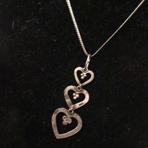 Triple hearts pendant & chain, sterling silver
